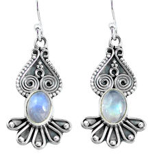 925 sterling silver 4.06cts natural rainbow moonstone dangle earrings p60231