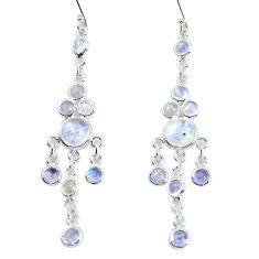 925 sterling silver 12.60cts natural rainbow moonstone dangle earrings p60544