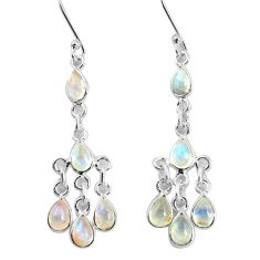 925 sterling silver 9.83cts natural rainbow moonstone dangle earrings p60547
