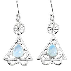 925 sterling silver 3.82cts natural rainbow moonstone dangle earrings p60639