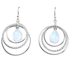 925 sterling silver 6.13cts natural rainbow moonstone dangle earrings p64766
