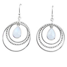 925 sterling silver 6.39cts natural rainbow moonstone dangle earrings p64777