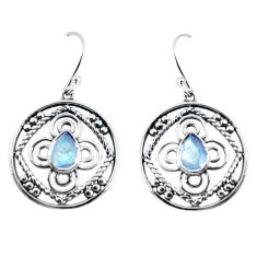 925 sterling silver 3.91cts natural rainbow moonstone dangle earrings p64839