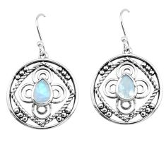 925 sterling silver 3.01cts natural rainbow moonstone dangle earrings p66470