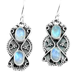 925 sterling silver 4.16cts natural rainbow moonstone dangle earrings p67996