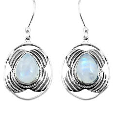 925 sterling silver 7.12cts natural rainbow moonstone dangle earrings p77575
