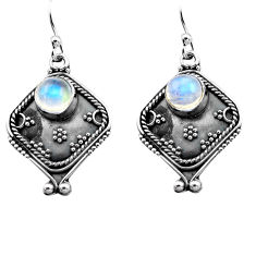 925 sterling silver 2.81cts natural rainbow moonstone dangle earrings p81331