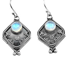 925 sterling silver 2.90cts natural rainbow moonstone dangle earrings p81340