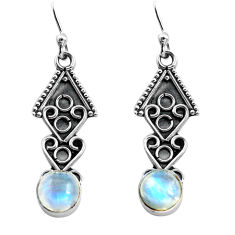 925 sterling silver 2.92cts natural rainbow moonstone dangle earrings p81376