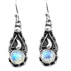 925 sterling silver 2.72cts natural rainbow moonstone dangle earrings p81379