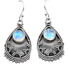 925 sterling silver 3.41cts natural rainbow moonstone dangle earrings p87536