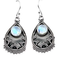 925 sterling silver 3.41cts natural rainbow moonstone dangle earrings p87539