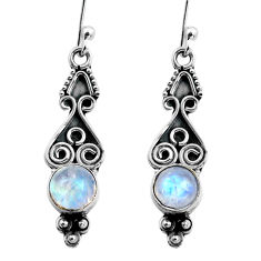 925 sterling silver 2.92cts natural rainbow moonstone dangle earrings p87554
