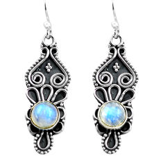 925 sterling silver 3.21cts natural rainbow moonstone dangle earrings p87557