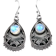 925 sterling silver 3.41cts natural rainbow moonstone dangle earrings p87560