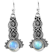 925 sterling silver 2.28cts natural rainbow moonstone dangle earrings p91351