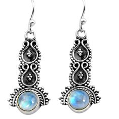 925 sterling silver 2.29cts natural rainbow moonstone dangle earrings p91358