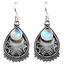 925 sterling silver 2.69cts natural rainbow moonstone dangle earrings p92743