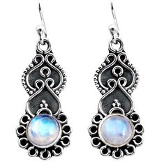925 sterling silver 2.93cts natural rainbow moonstone dangle earrings p92747