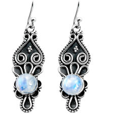 925 sterling silver 3.10cts natural rainbow moonstone dangle earrings p92751