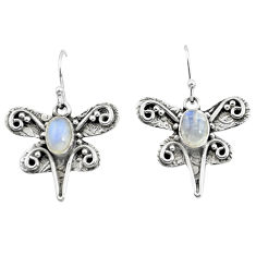 925 sterling silver 3.41cts natural rainbow moonstone dragonfly earrings p57579