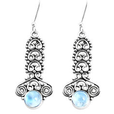 925 sterling silver 2.89cts natural rainbow moonstone earrings jewelry p39254