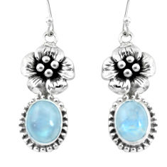 925 sterling silver 6.62cts natural rainbow moonstone flower earrings p54938
