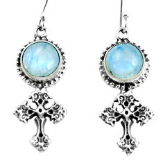 925 sterling silver 8.76cts natural rainbow moonstone holy cross earrings p60795