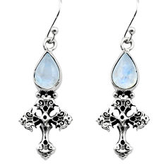 925 sterling silver 4.64cts natural rainbow moonstone holy cross earrings p80490