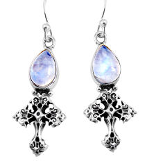 925 sterling silver 4.68cts natural rainbow moonstone holy cross earrings p91367