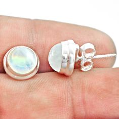 925 sterling silver 6.64cts natural rainbow moonstone stud earrings p74574