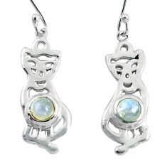 925 sterling silver 2.28cts natural rainbow moonstone two cats earrings p60760