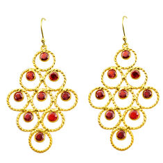 925 sterling silver 8.07cts natural red garnet 14k gold dangle earrings p88504