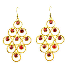 925 sterling silver 9.47cts natural red garnet 14k gold earrings jewelry p92724