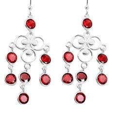 925 sterling silver 12.06cts natural red garnet chandelier earrings p43898