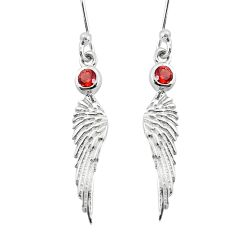 925 sterling silver 1.01cts natural red garnet dangle angel wing earrings p36816