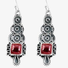 925 sterling silver 5.06cts natural red garnet dangle earrings jewelry d32488