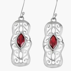 925 sterling silver 5.05cts natural red garnet dangle earrings jewelry d32558