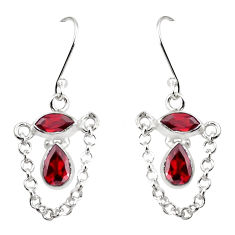 925 sterling silver 6.27cts natural red garnet dangle earrings jewelry p45644