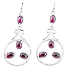 925 sterling silver 8.42cts natural red garnet dangle earrings jewelry p56924