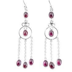 925 sterling silver 9.29cts natural red garnet dangle earrings jewelry p56968