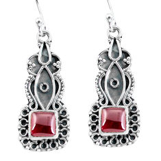 925 sterling silver 4.67cts natural red garnet dangle earrings jewelry p59984