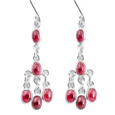 925 sterling silver 11.57cts natural red garnet dangle earrings jewelry p60595