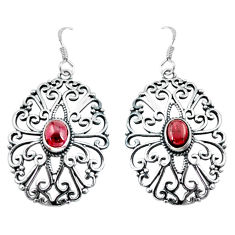 925 sterling silver 2.90cts natural red garnet dangle earrings jewelry p64892