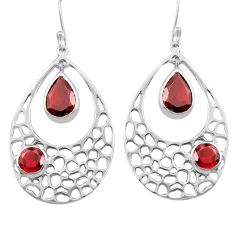 925 sterling silver 7.24cts natural red garnet dangle earrings jewelry p82127