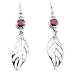 925 sterling silver 1.96cts natural red garnet deltoid leaf earrings p84147