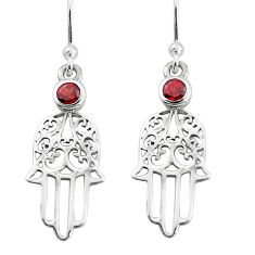 925 sterling silver 0.89cts natural red garnet hand of god hamsa earrings p36824