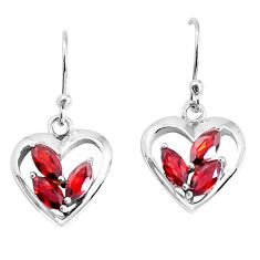925 sterling silver 4.70cts natural red garnet heart love earrings p36764