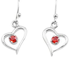 925 sterling silver 0.76cts natural red garnet heart love earrings p84267