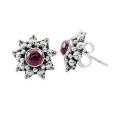 925 sterling silver 1.64cts natural red garnet stud earrings jewelry p88564